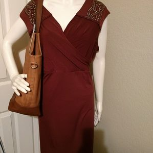 Burgundy, ponte knit dress with should detailing