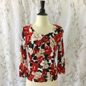 White House Black Market red floral cardigan
