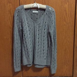 Grey cable knit sweater - sz M Abercrombie & Fitch