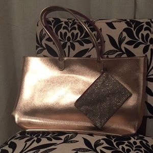 NWT Large Rose Gold Tote + Small Glitter Pouch