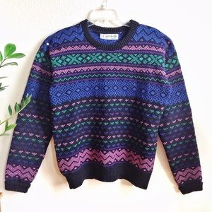 VTG🎀 80s Chunky Wool Sweetheart Sweater!