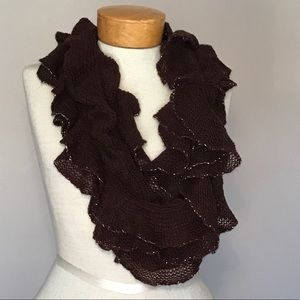 Nwt brown knit eternity scarf with silver metallic