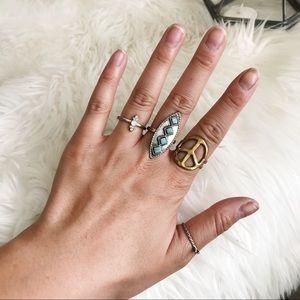 Peace Sign Boho Ring Set