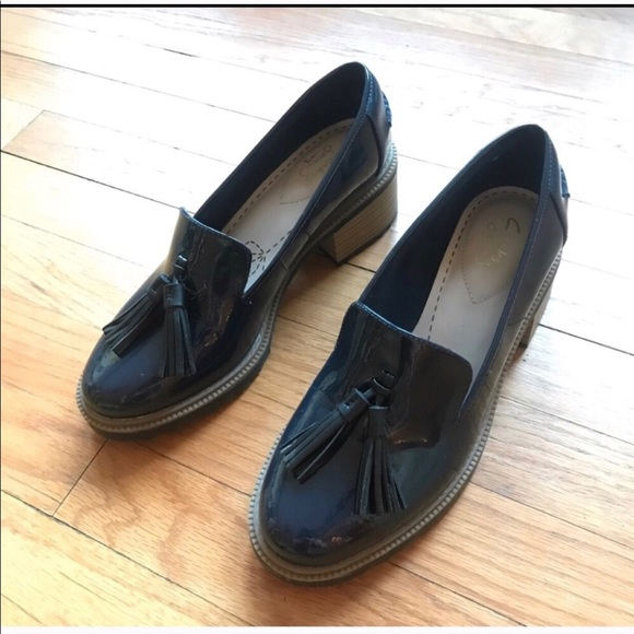 Clarks Patent Tassel Oxford Loafers