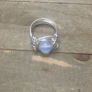 Opalite Silver Wire Wrapped Ring