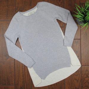 Small Ann Taylor LOFT Sweater Gray Crene Knit