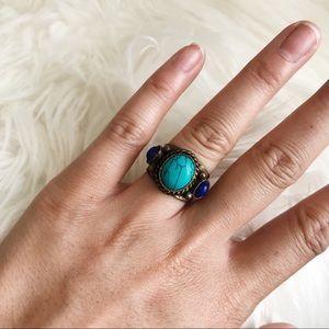 Turquoise Lapis Tribal Ring