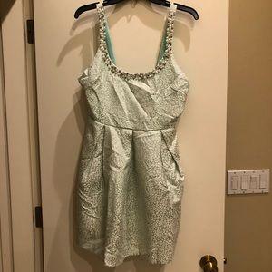 Seafoam green jeweled neckline dress size L