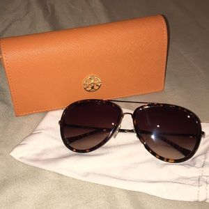Tory Burch Tortoise Aviator Sunglasses