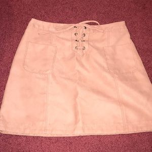 Brand New Pink Suede Skirt