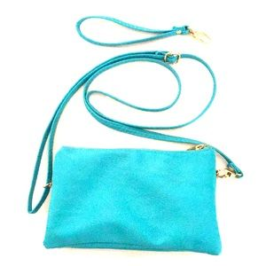 Turquoise interchangeable crossbody bag/wristlet