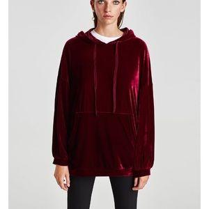 Zara Velvet hooded sweatshirt
