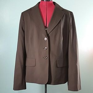 Ann Taylor virgin wool blazer chocolate brown 16