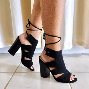 Call It Spring Lace-Up Chunky Heels