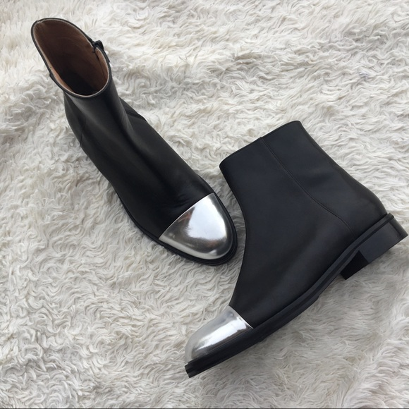 0801d30483a LEWIT ✨NWOT Leather Ankle Boots w/ Silver Cap Toe