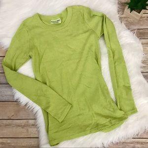 Michael Stars Shine Long Sleeve Tee in Lime Green