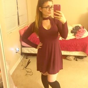 Burgundy dress.