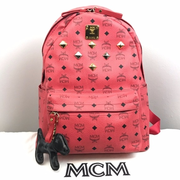 24dcaa21157 MCM Bags   Authentic Medium Pink Red Stark Stud Backpack   Poshmark