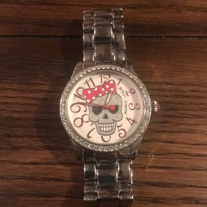 Betsy Johnson silver skull watch