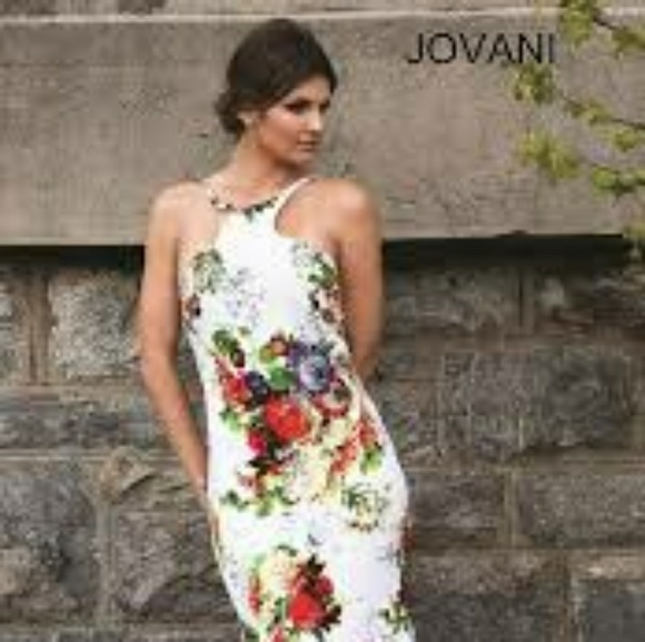 45765915a596 Jovani Dresses   Skirts - Long Open Back Floral Print Jovani Dress- PromGirl
