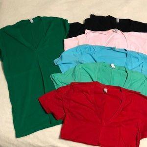 American Apparel Deep V-Neck Summer T-Shirts 6pcs
