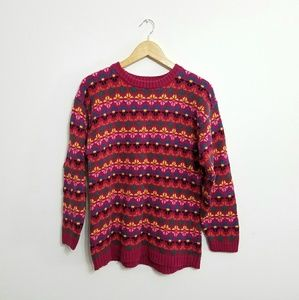 Vintage • Bright Colorful Thick Knit Sweater