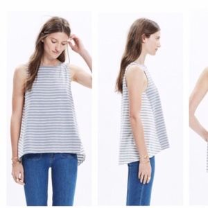 Madewell Forward Seam Striped Swing Top Hi Low Hem