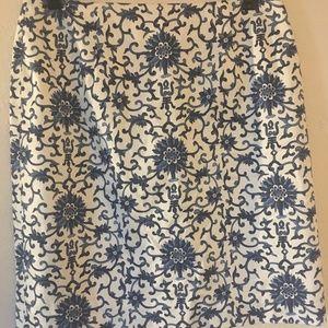 Blue and white Ralph Lauren pencil skirt NWT