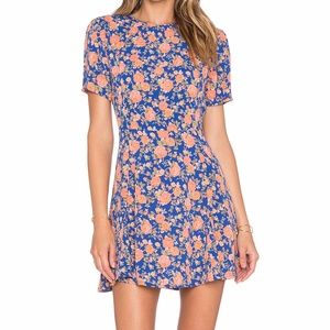 Tularose Iris Dress in Navy and Peach Floral