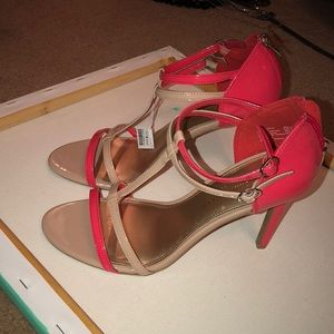 NWT!  Nude and Coral Heels!
