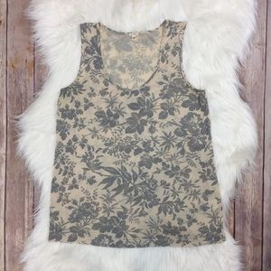 J. Crew | Featherknit Floral Tank Linen XS