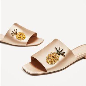 Zara pineapple bejeweled champagne 10 sandals