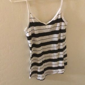 White and black striped tank
