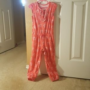 Pinkish-orange floral short sleeve jumpsuit