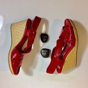 Cole Haan Shoes - Cole Haan Woven Wedge Sandals Red Upper Size Nine