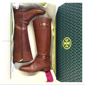 Tory Burch Nadine Brown Almond Riding Boots