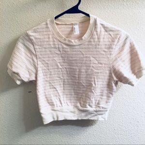 American Apparel Ringer Crop Sweatshirt Striped