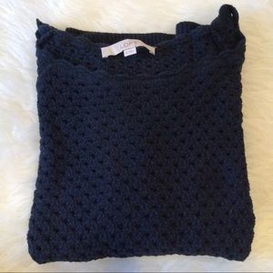 Ann Taylor Loft Perforated Scallop Sweater