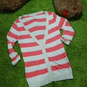 Long Coral and Cream Striped F21 Cardigan