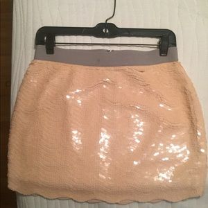 BCBG small pink fully sequined scalloped skirt