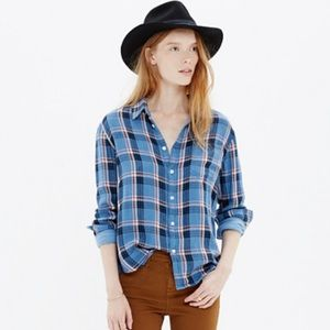 Madewell blue & red plaid flannel