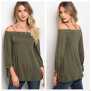 Tops - Olive Off-Shoulder Top