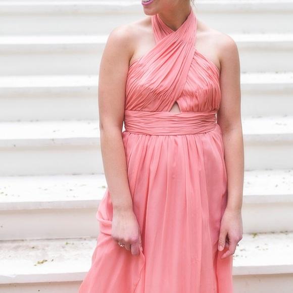 Jill Stuart Salmon Pink Halter Chiffon Gown 6   Poshmark
