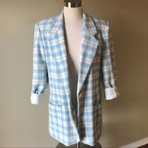 Vintage Blue Plaid Wool Blend Blazer