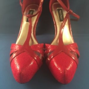 Red t-strap heels - only worn once!