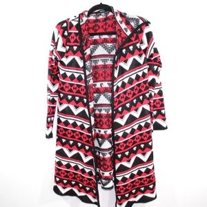 Forever 21 Long Cardigan Tribal Print Sweater Red