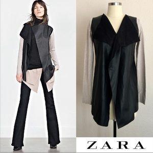 ZARA Drape Faux Leather Cardigan Jacket