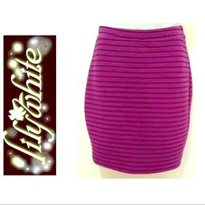 High Waist Stretch Bodycon Purple Black Skirt