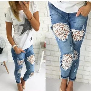 Denim - Distressed, embroidered jeans