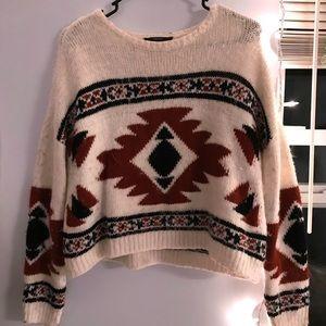 fuzzy aztec print sweater